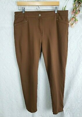 Chicos so slimming 2.5 Womens sz Large 12 14 Camel Brown Stretch Pants