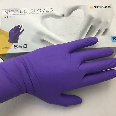 100 EXTRA LONG DISPOSABLE NITRILE GLOVES X-LARGE 50 pair POWDER FREE LATEX FREE