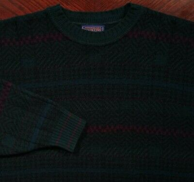Vtg Pendleton USA 100% Virgin Wool Houndstooth Herringbone Sweater Teal Green XL