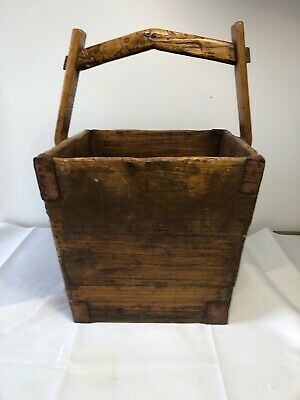 Antique Primitive Hand Made Chinese Rice Bucket Dovetail Water Bucket Reinforced