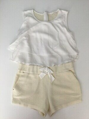 Chloe Girls Playsuit Cream White Shorts Age 6 Yrs Sleevless Silk