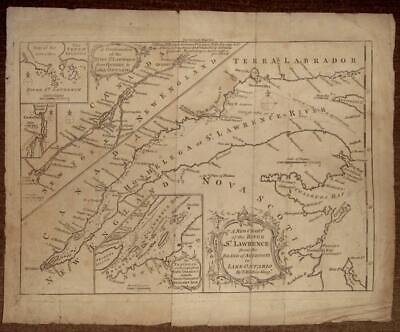 Canada.Map of River St Lawrence from Anticosti to Lake Ontario,c.1760 by Kitchin