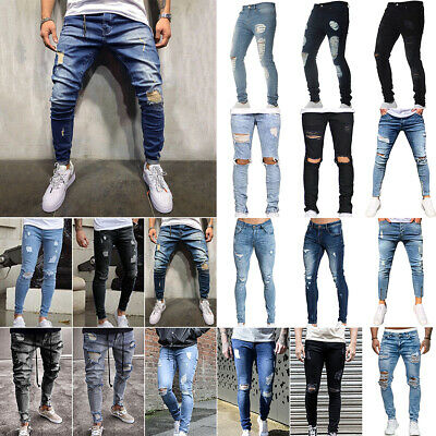 """UK Mens Jeans Sim Tapered Fit Ripped Jeans Mid Blue Pants Denim Trouser 30-36/"""""""