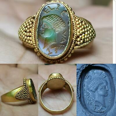 Roman Emperor Ancient stone Rare 22k karat Gold Lovely Ring # 162