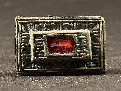 Highly Detailed Ancient Saxon Bronze Belt Mount Inc Gem Stone Insert Circa 800Ad