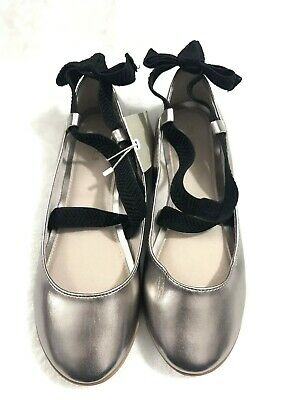 Zara Kids Girls US 4.5'Black Bow Back Ballerina Flats Shoes Elastic