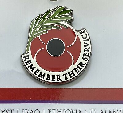 Remember Their Service Lapel Pin *Remembrance Day * ANZAC Day*NEW 25mm