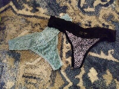 vintage lace thongs. Maidenform and Soma. blue and black. Sz M