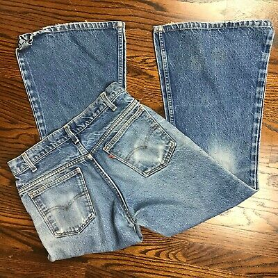 Vintage 70s 80s Levis 684 Jeans Bell Bottom 31x27 Flared Orange Tab Pants mens