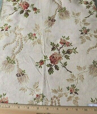 "Antique c1900 French Rose Floral Silk Brocade Fabric~L-16"" X W-13"""