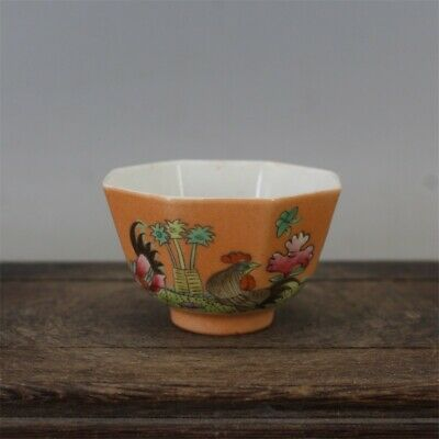 """Old Guangxu marked famille rose Porcelain painted Cock Eight square tea cup 2.3"""""""
