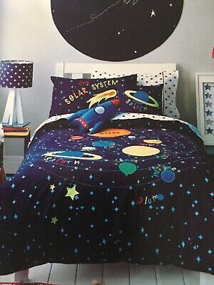 ADAIRS Kids Solar System Glow In The dark Navy Cot Quilt Cover Set - Brand New