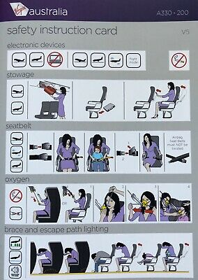 NEW March 2020 Airbus A330 V5 Safety Card Virgin Australia