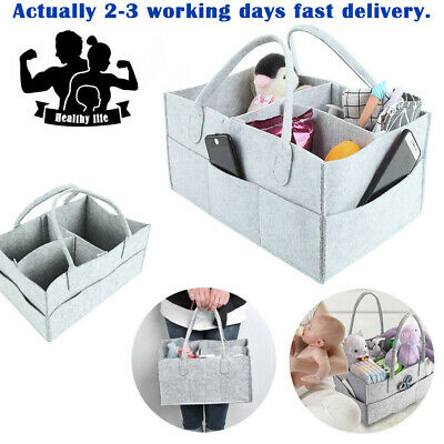 Felt Baby Diaper Caddy Organizer Large Capacity Portable Nursery Storage Bag UK