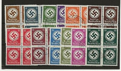 Germany 1942 Officials no wmk sg.0809-0820 set of 12 in blocks 4 used (cto 1944)