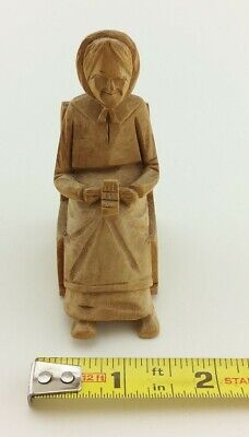 1936 St. Jean Port Joli Quebec Folk Art Hand Carved Wood Woman in Rocking Chair