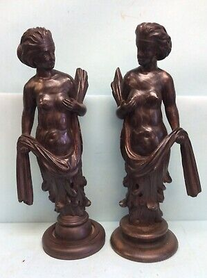 "Pair Hand Carved Figural Furniture Fragments As Statuary 23"" Tall"