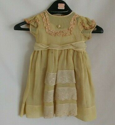 Antique Baby Dress Beautiful green lace with under slip delicate display or doll