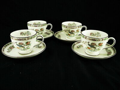 Set Of 4 Wedgwood Kutani Crane Leigh Tea Cup And Saucer Sets Unused Condition