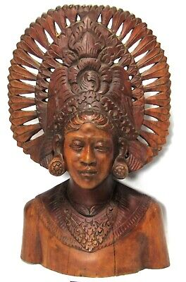 "13"" Hand Carved Solid Wood Bust - Balinese or Aztec Queen Goddess in Headdress"