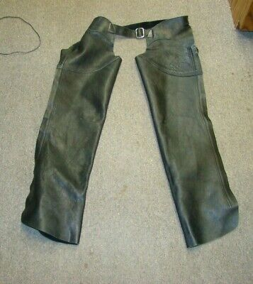 ARD Motorcycle Leather Chaps Pants Biker Cowboy Riding Racing Black Genuine Leather Chap MEDIUM