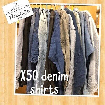 50 x VINTAGE DENIM SHIRTS JOB LOT WHOLESALE BRANDED & UNBRANDED MIX :)