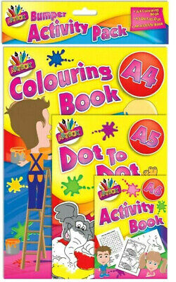 3 PACK of ACTIVITY BOOK KIDS DOT to DOT COLOURING BORED CHILDREN HOME OFF SCHOOL