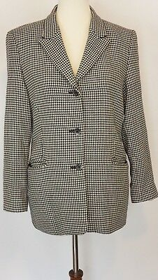 Austin Reed Size 10 Hounds Tooth Women's Blazer Jacket Lined 100% Worsted Wool