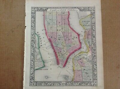 """My original 1864 map of Plan of New York"""" by S. A. Mitchell Jr in good condition"""