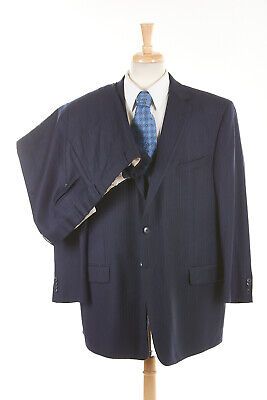JOSEPH ABBOUD Power Suit 50 L in Navy Blue Pinstripe Wool 2-Vent Flat USA