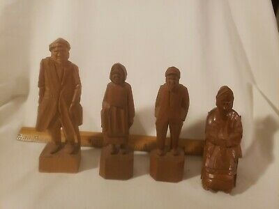 Beautiful Lot of Vintage Quebec Hand Carved Figurines Three Signed Perfect Art
