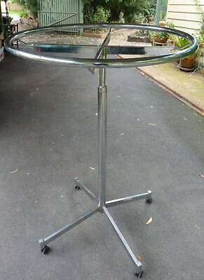 LARGE Round Revolving Clothes Rack Chrome Clothing Stand  Adjustable