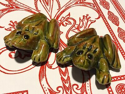 Vintage Anatomically Correct Frogs Green Glazed Ceramic Naughty Figurines