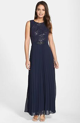 Patra Embellished Metallic Lace Pleated Gown Sz 6 Navy