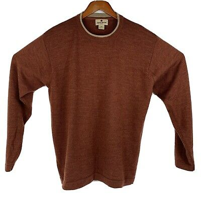 Vtg Woolrich Men's Crew Neck Pullover Wool Sweater Red/Orange Sz L
