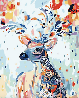 Paint By Number Kits Oil Painting Canvas DIY Craft Home Decor Deer Animal Wild
