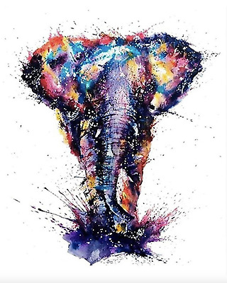 Elephant Paint By Number Kits Oil Painting Canvas DIY Craft Home Decor Animal