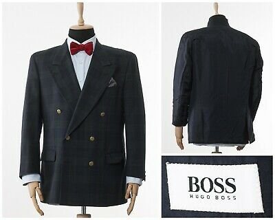 Mens HUGO BOSS Blazer Coat Double Breasted Wool Checked Green Blue Size 42 52 L