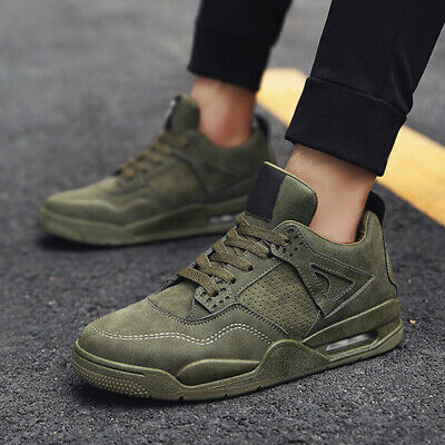 2PCS Mens Athletic Shoes Sneakers Army Green Sports Running Shoes Soft Jogging