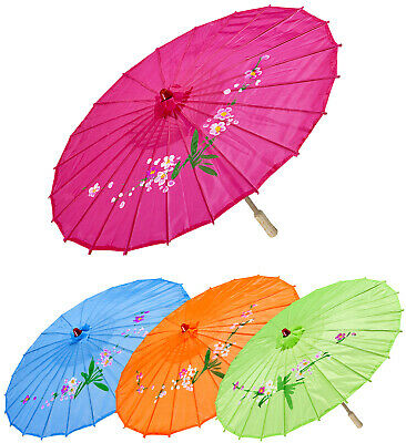 Silk Parasol W/Wooden Structure Ø 76cm 4 Cols Ass Far East Chinese Japanase