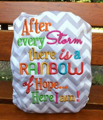 Diaper Embroidery Cloth Diaper Nappy After Every Storm There is a Rainbow Of Hop