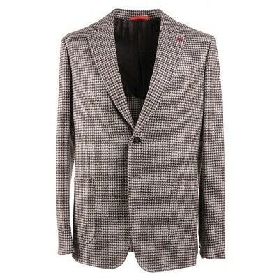 NWT $3490 ISAIA Slim-Fit Soft Houndstooth Check Wool Sport Coat 44R (Eu 54)