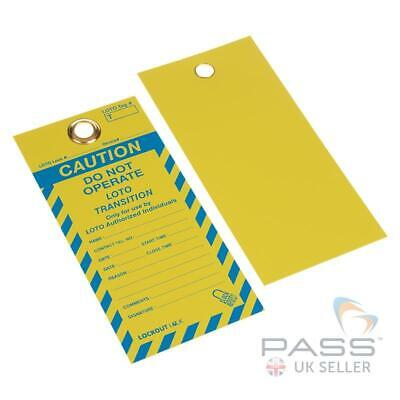 Lockout Tags - ''Do Not Operate, Loto Transition'' - Pack of 10 - Yellow / Blue