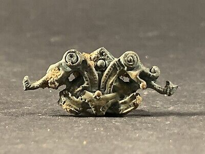 Museum Quality Ancient Viking Norse Bronze Entwined Dragons Mount Circa 800Ad