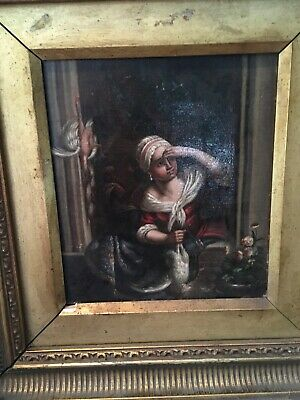 Antique European Oil Painting On Canvas Original Frame Girl Chickens Stunning