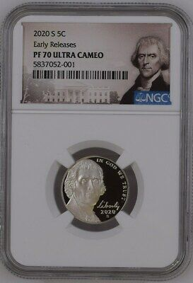 2020 S Proof Jefferson Nickel - Ngc Pf70 Er Portrait Label