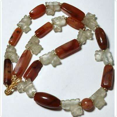 Very Old Unique Agate stone & Roman Crystal lion stone beads Necklace    # 163