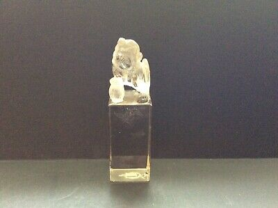 Carved Rock Crystal Foo Dog Engraved Seal