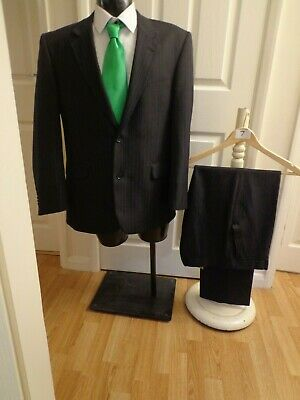 """Suit chest 42S waist 36R By Taylor&Wright grey pinstripe 2 button jacket L30""""(7)"""