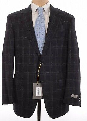 Canali NWT Sport Coat Size 44R In Black & Gray Plaid Wool Current $1,495